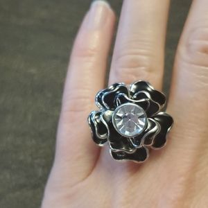 Black and silver tone cocktail ring